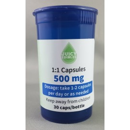 Juicy Edibles Capsules 1:1 - 500mg per 30 Count Bottle (250mg CBD and 250mg THC)