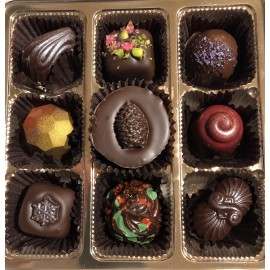 Truffles Box -  9 Piece - Assorted - (10mg THC per Chocolate/ 90mg THC per box)